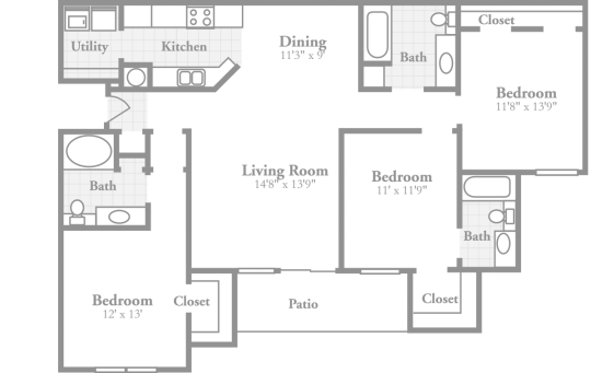 3 bedroom floor plans crowne on tenth stylish for Three bedroom apartment layout