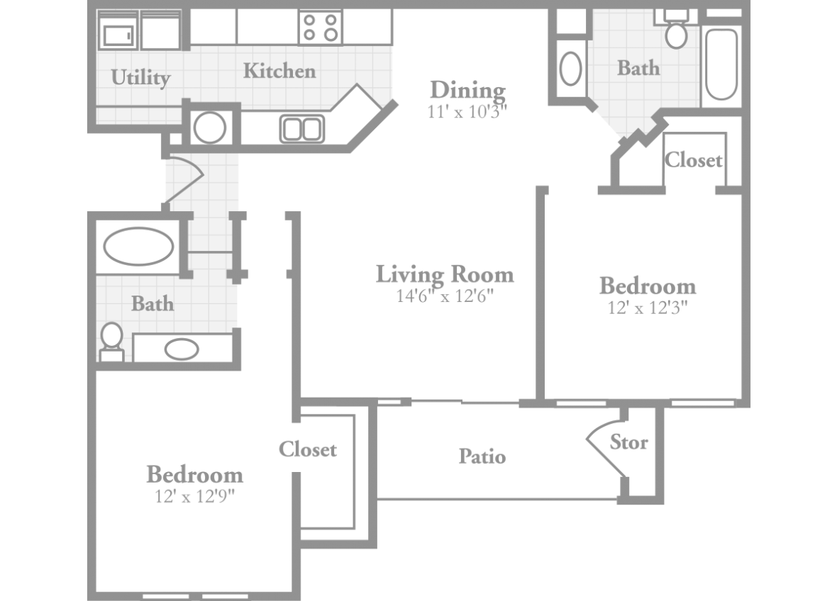 2 bedroom floor plan dimensions thefloors co for Standard house plans free
